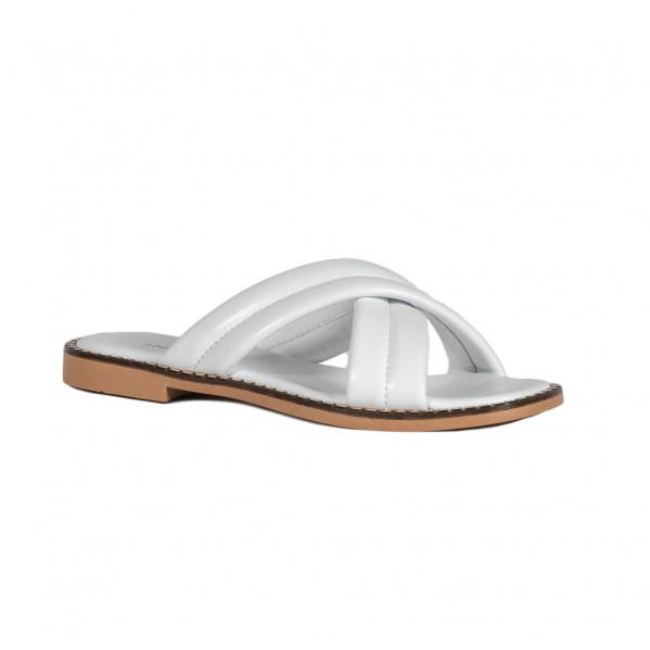 Γυναικεία δερμάτινα Flat πέδιλα λευκά Infinity ΣΚΣ-1041