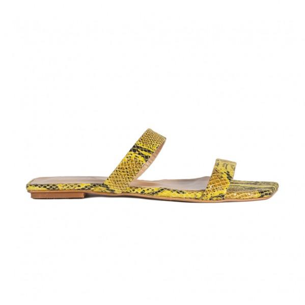 Γυναικεία δερμάτινα Flat πέδιλα snake print κίτρινα She Collection 185.180.21