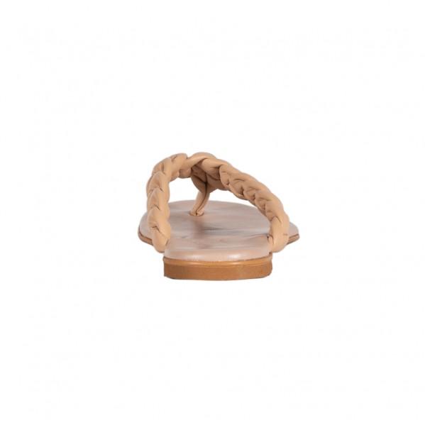 Γυναικεία δερμάτινα Flat πέδιλα nude Infinity AA-1116