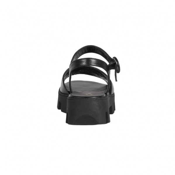 Γυναικεία δερμάτινα πέδιλα Flatforms μαύρα Mourtzi 3/30501