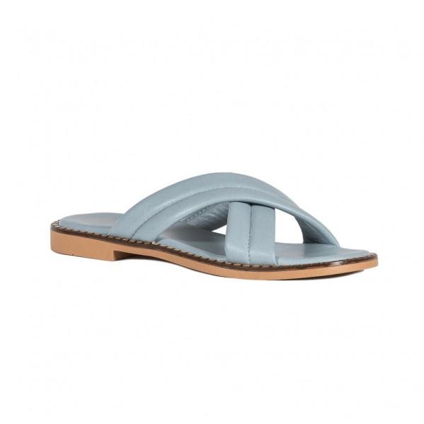 Γυναικεία δερμάτινα Flat πέδιλα ραφ Infinity ΣΚΣ-1041